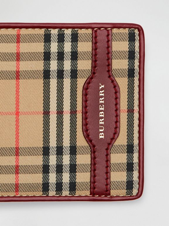 1983 Check and Leather International Bifold Wallet in Antique Red - Men | Burberry Hong Kong - cell image 1