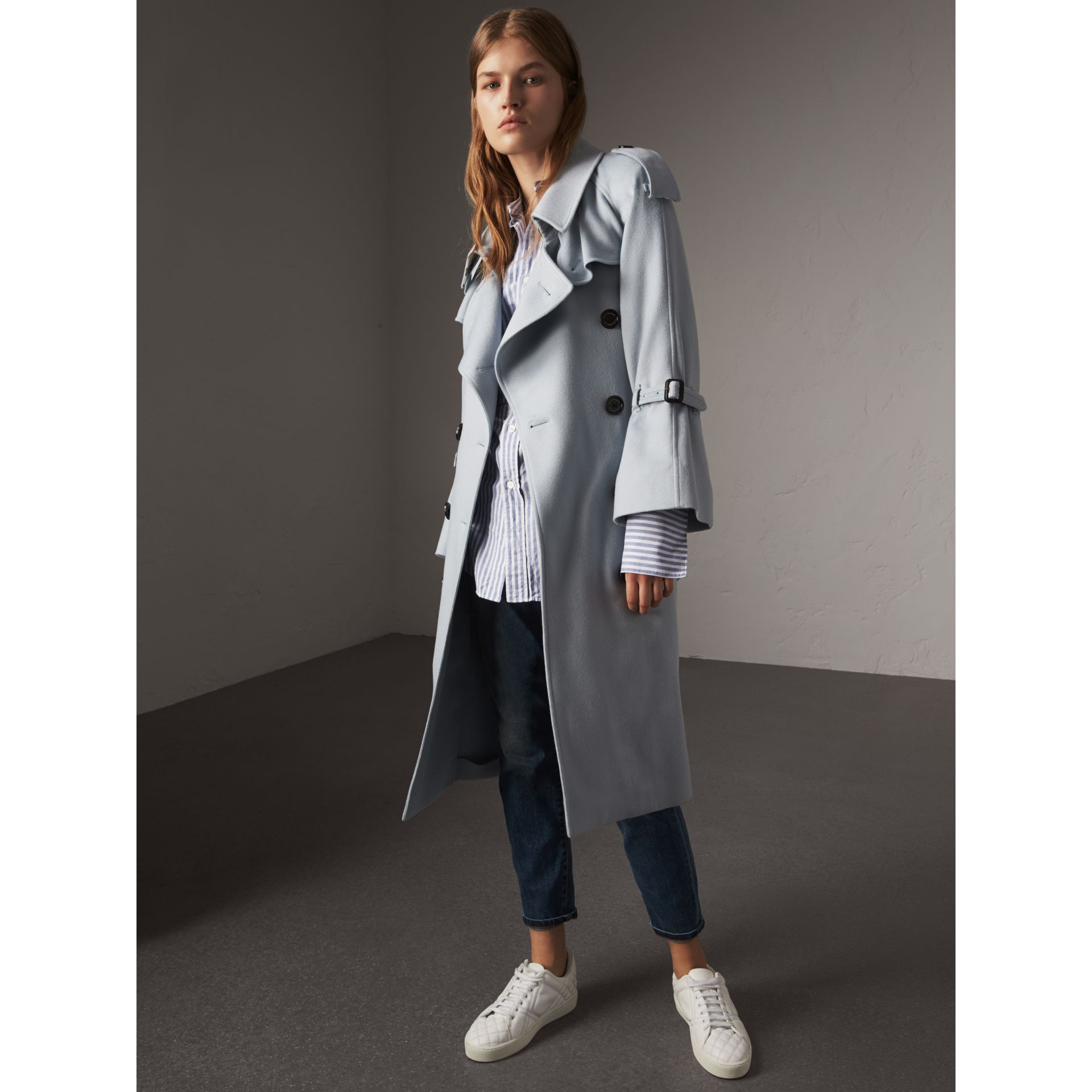Ruffled Storm Shield Cashmere Trench Coat in Mineral Blue - Women | Burberry Australia - gallery image 1