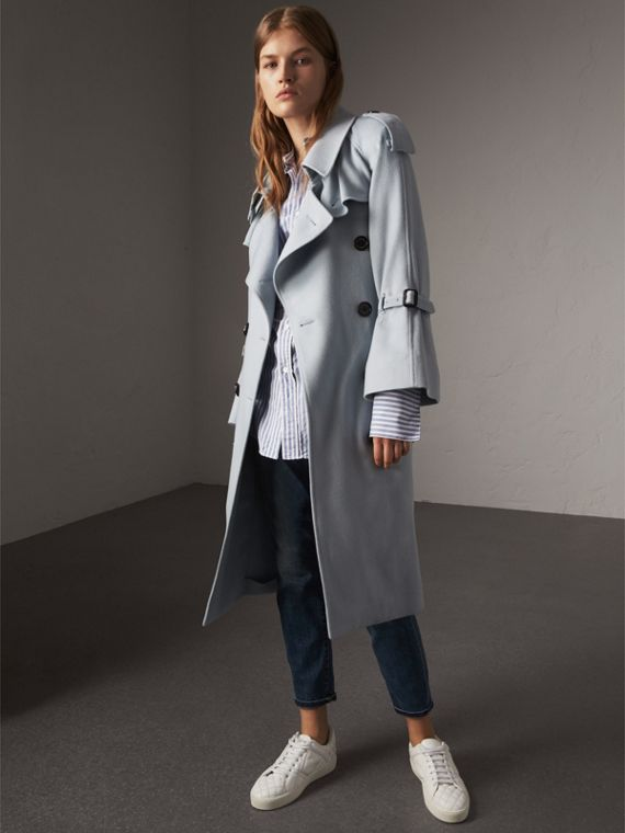 Ruffled Storm Shield Cashmere Trench Coat in Mineral Blue