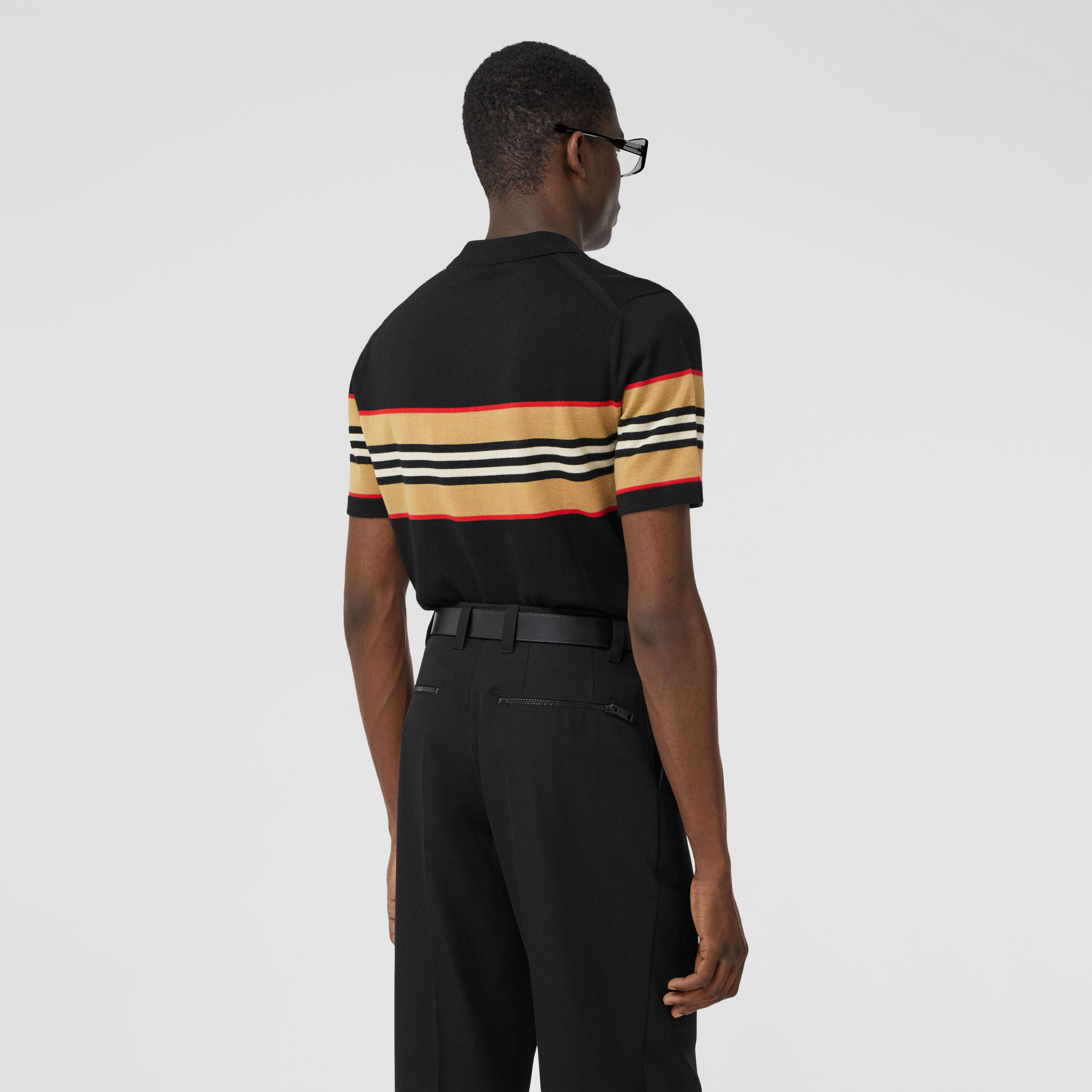 Icon Stripe Detail Merino Wool Polo Shirt in Black - Men | Burberry - 3