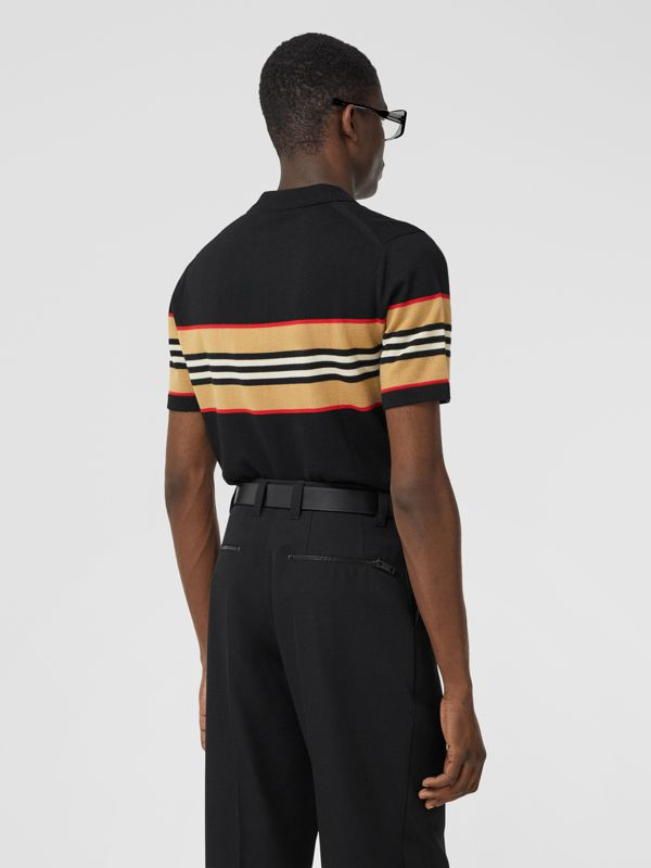 Icon Stripe Detail Merino Wool Polo Shirt in Black - Men | Burberry - cell image 2