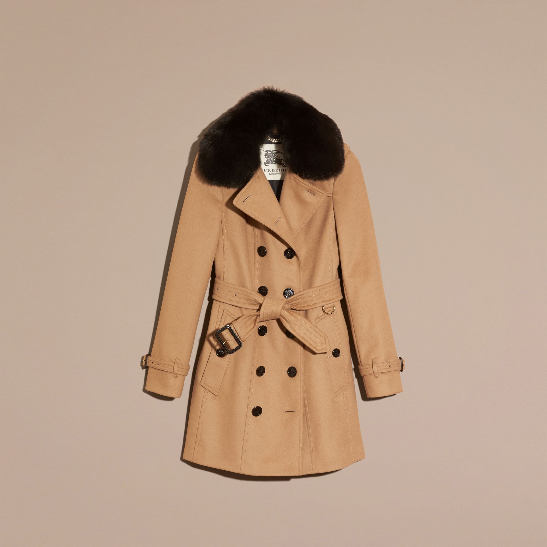 Camel Fox Fur Collar Wool Cashmere Trench Coat Camel - gallery image 4