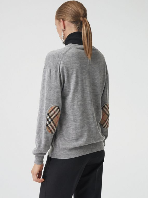Rebeca en lana de merino con detalles a cuadros Vintage Checks (Mezcla  Gris)