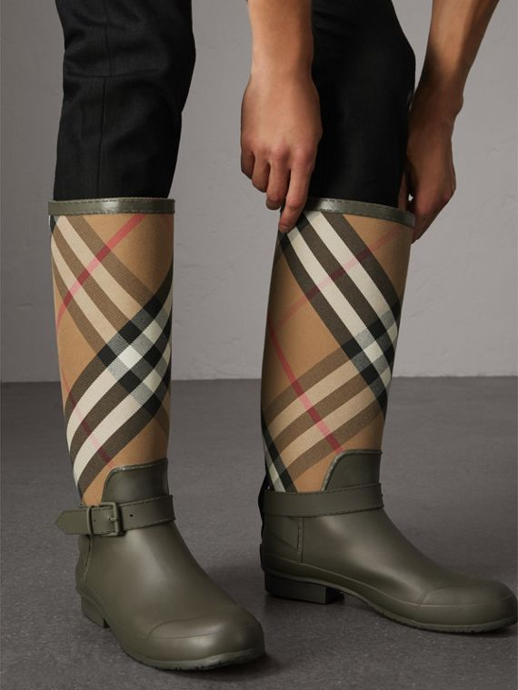 Belt Detail House Check and Rubber Rain Boots in Military Green - Men | Burberry - cell image 2