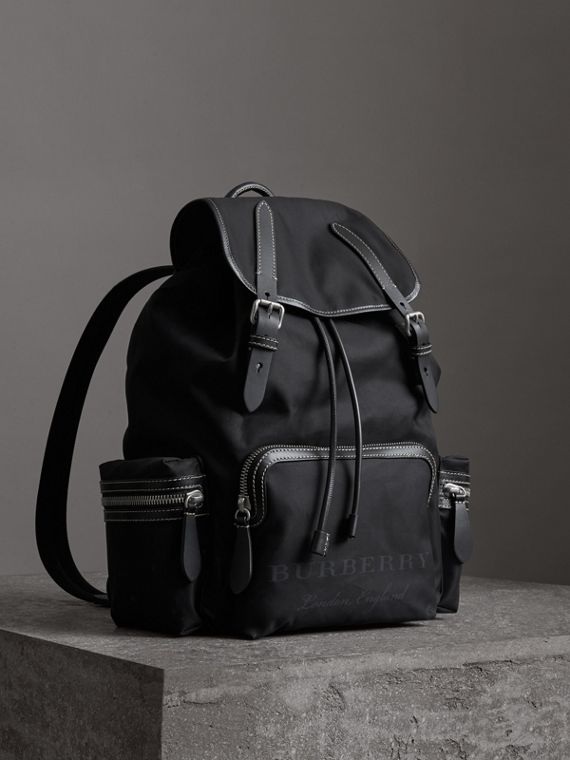 The Large Rucksack in Cotton Canvas in Black