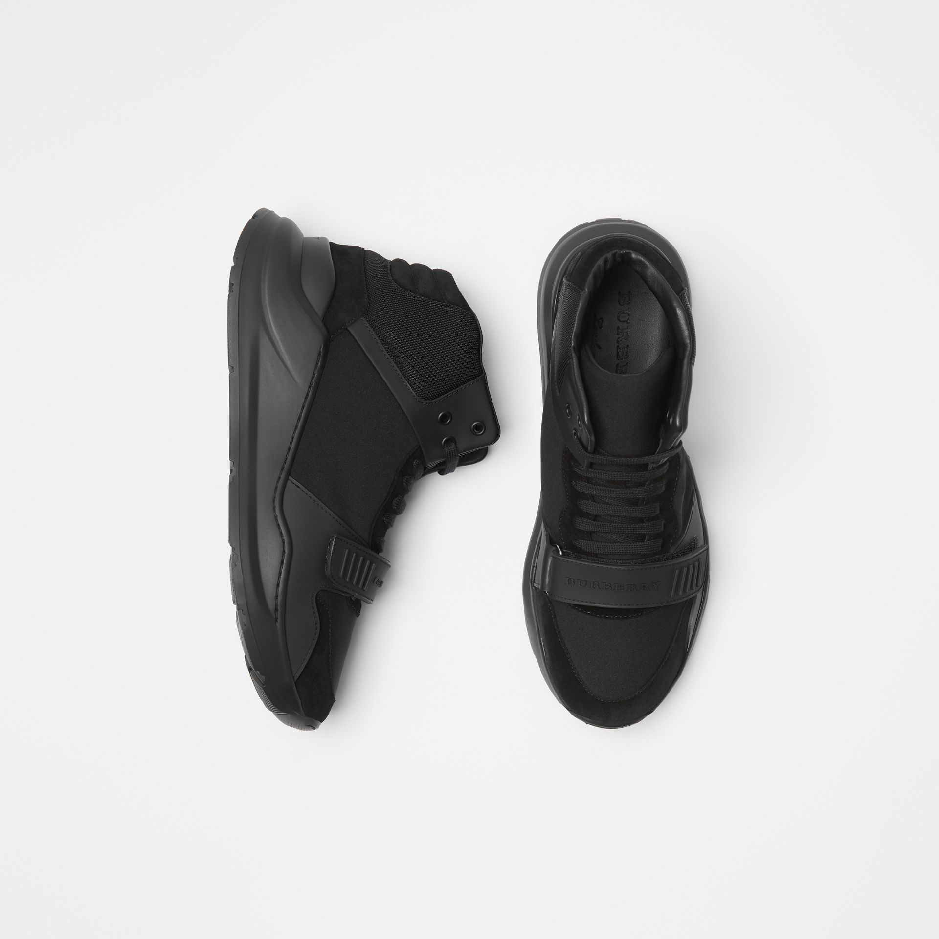 Suede and Neoprene High-top Sneakers in Black | Burberry - gallery image 0