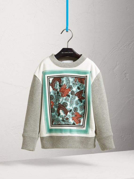 Beasts Print Cotton Sweatshirt in Grey Melange - Girl | Burberry - cell image 2