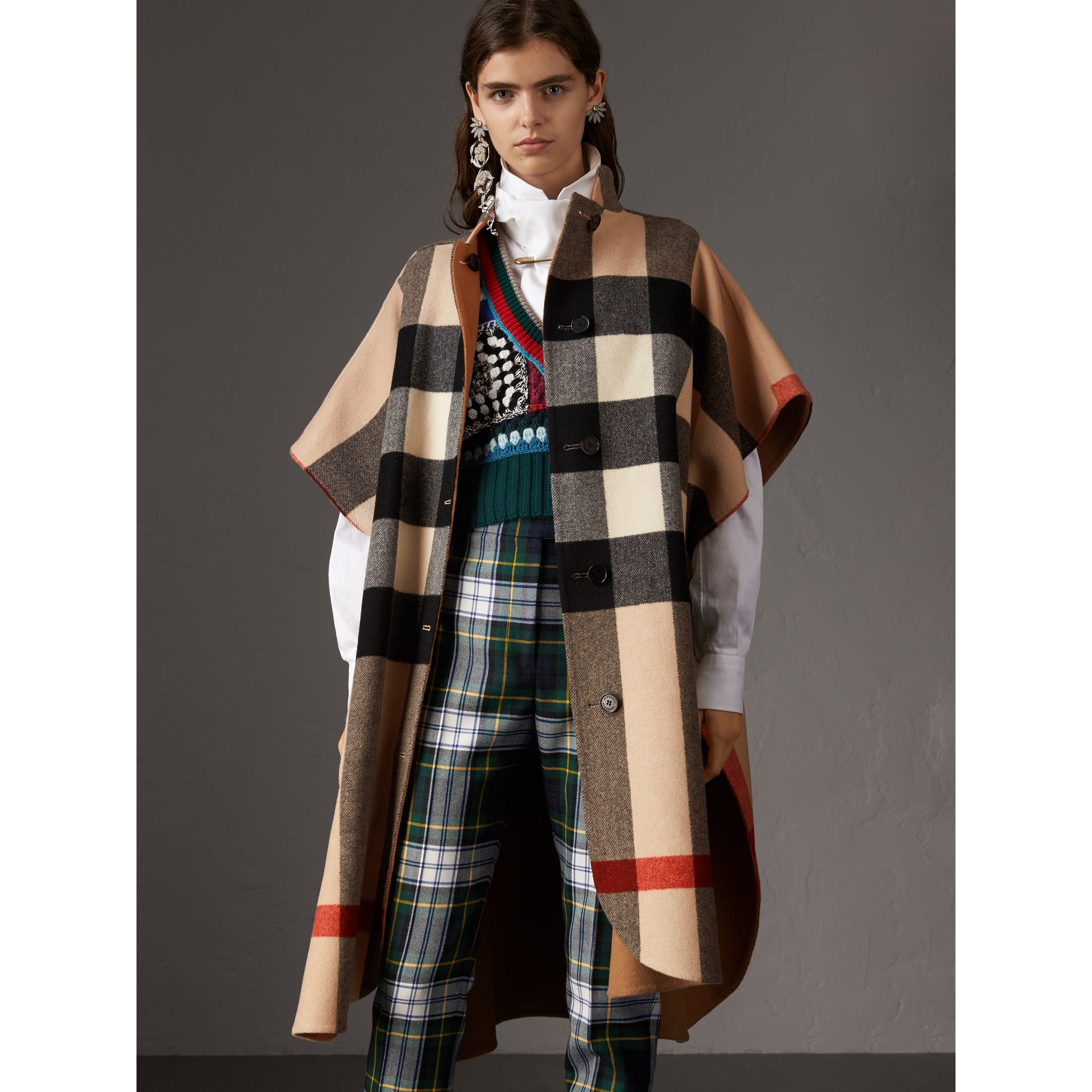 Reversible Check Oversized Poncho in Camel - Women | Burberry Australia - gallery image 5