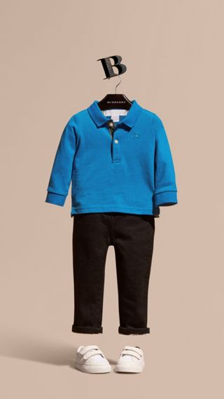 Check Trim Long-sleeved Cotton Polo Shirt