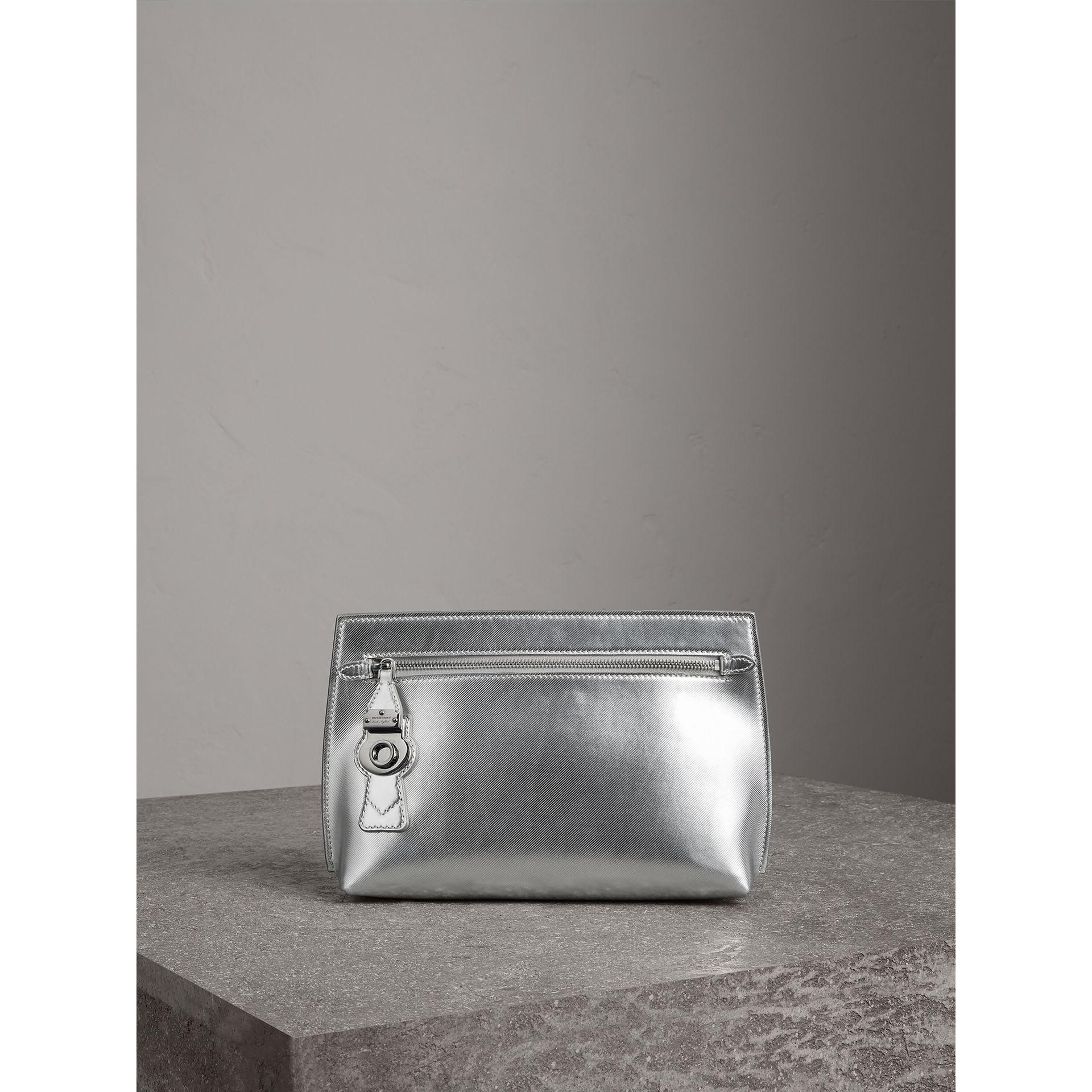 Metallic Trench Leather Pouch in Silver - Women | Burberry United States - gallery image 0