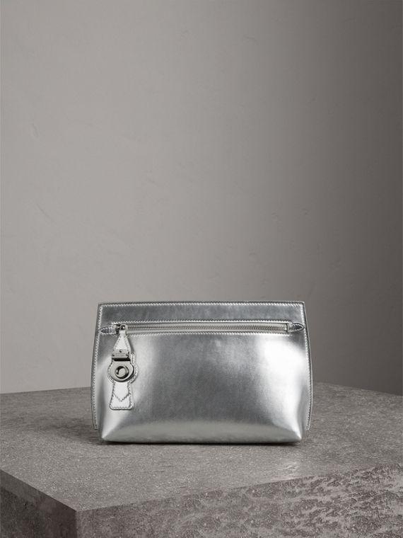 Metallic Trench Leather Pouch in Silver