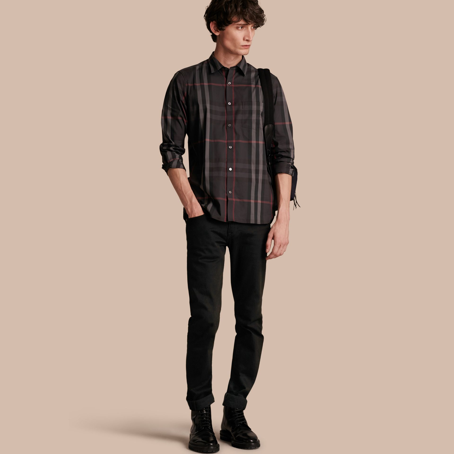 Check Stretch Cotton Shirt in Dark Charcoal - Men | Burberry - gallery image 1