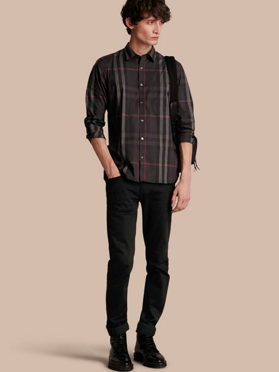 Check Stretch Cotton Shirt in Dark Charcoal