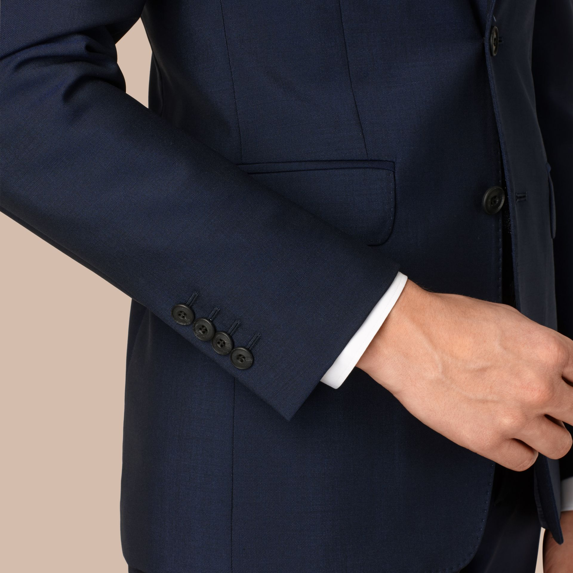Slim Fit Wool Mohair Part-canvas Suit in Royal Navy - gallery image 2