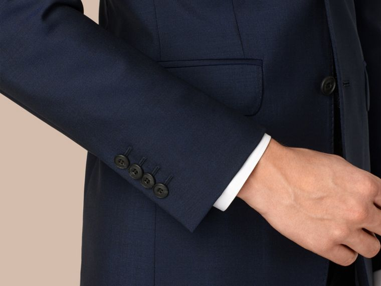 Slim Fit Wool Mohair Part-canvas Suit in Royal Navy - cell image 1