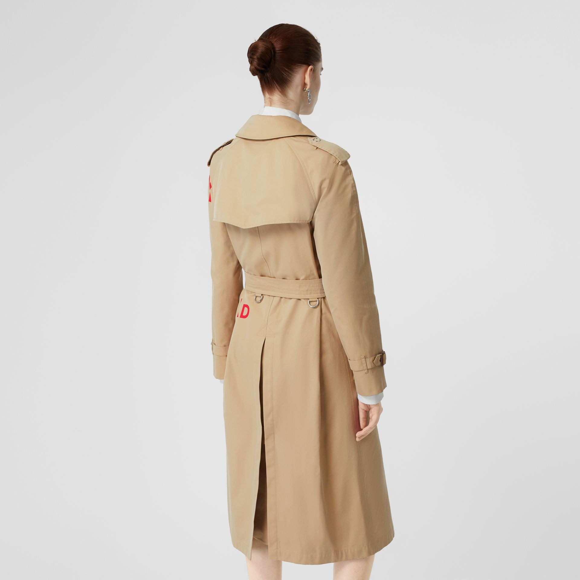Horseferry Print Cotton Gabardine Trench Coat in Honey - Women | Burberry United Kingdom - gallery image 2