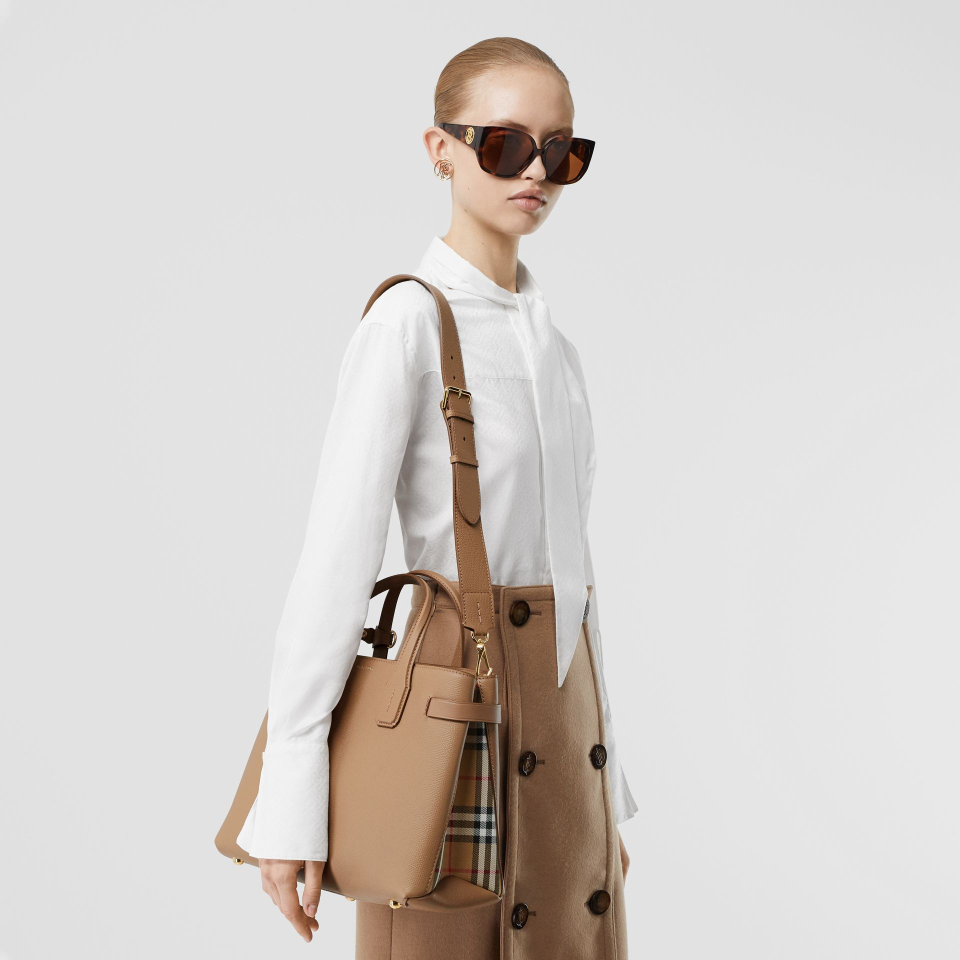 The Medium Banner in Leather and Vintage Check in Camel - Women | Burberry - gallery image 2