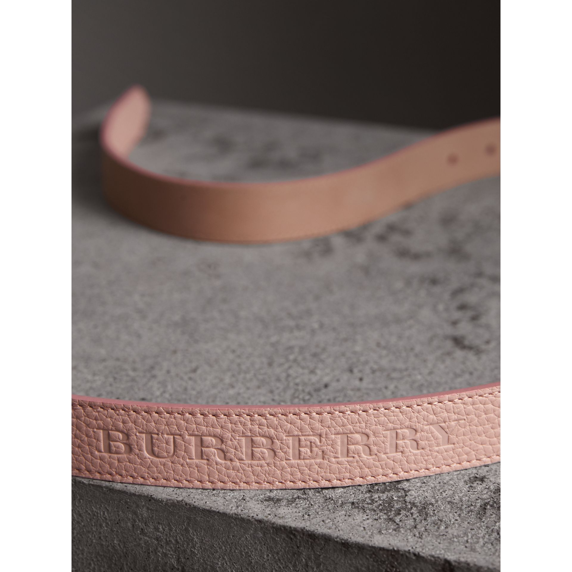 Embossed Leather Belt in Pale Ash Rose - Women | Burberry Hong Kong - gallery image 2