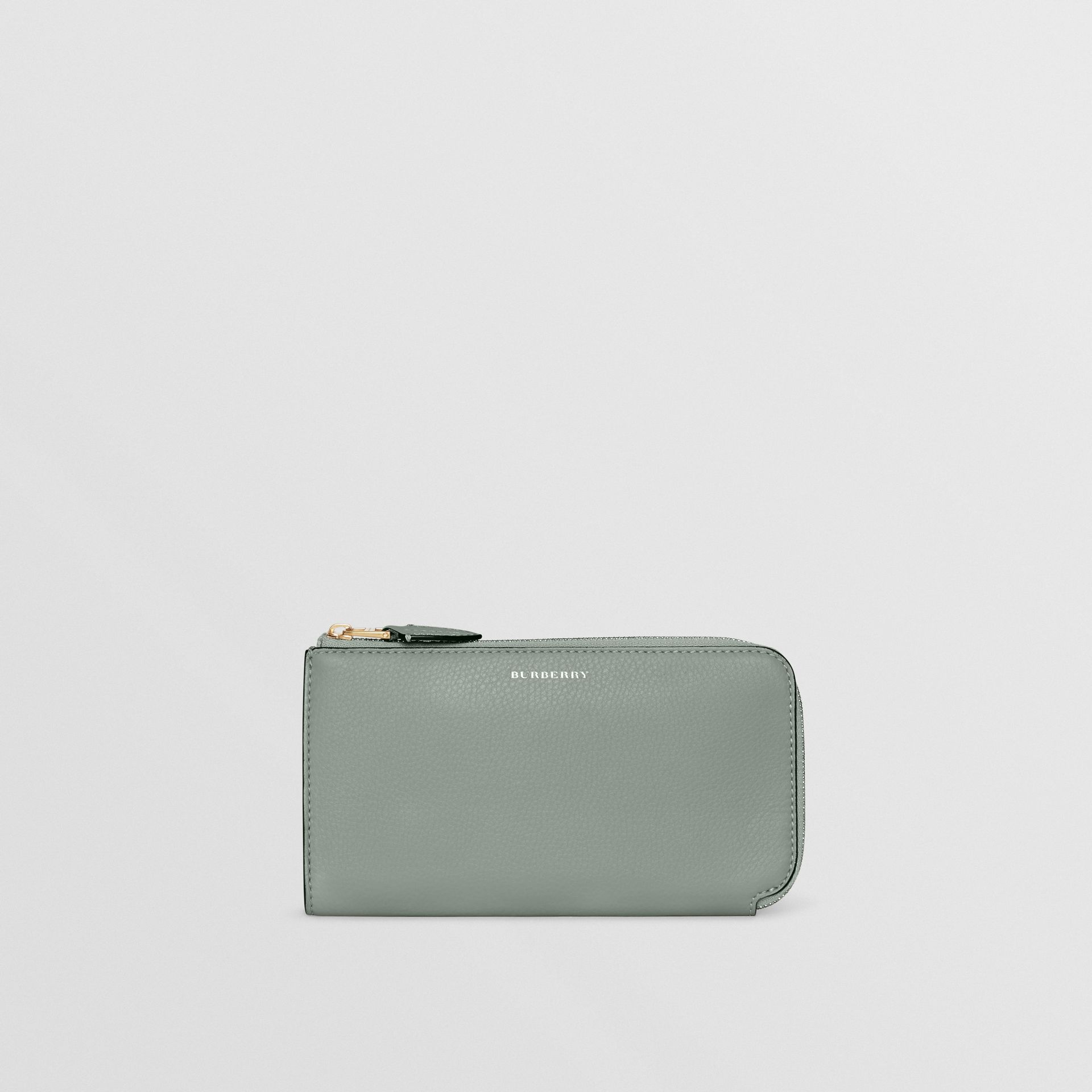Two-tone Leather Ziparound Wallet and Coin Case in Grey Blue - Women | Burberry - gallery image 2