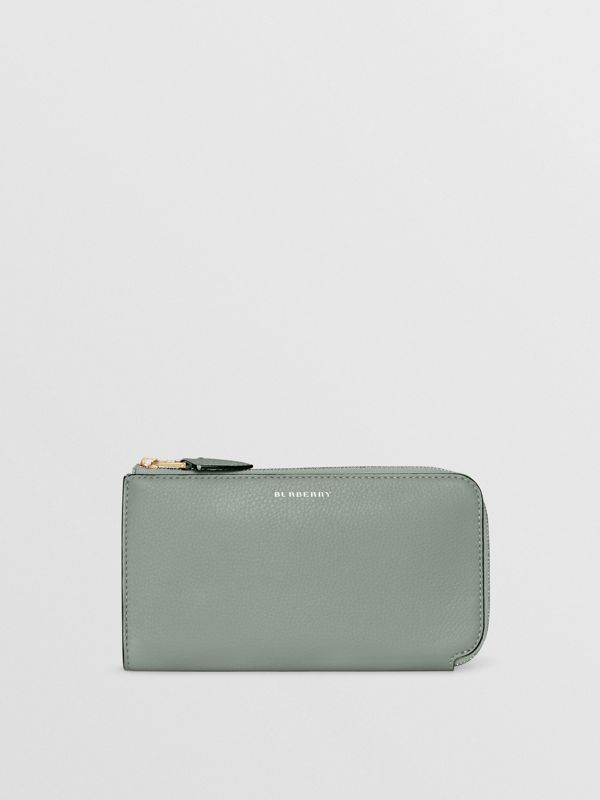 Two-tone Leather Ziparound Wallet and Coin Case in Grey Blue - Women | Burberry - cell image 2