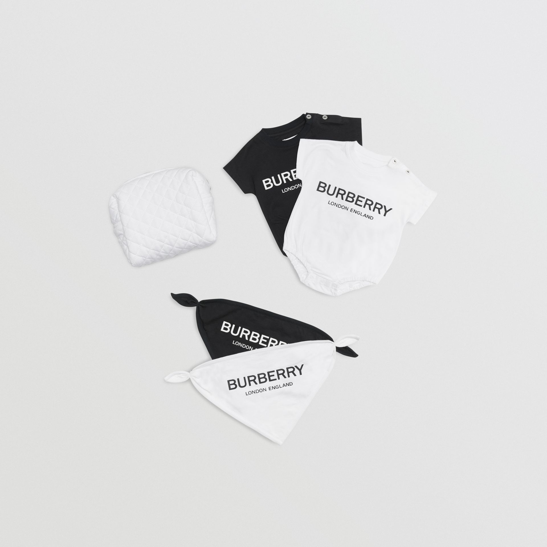Logo Print Cotton Four-piece Baby Gift Set in Black/white - Children | Burberry Hong Kong - gallery image 0