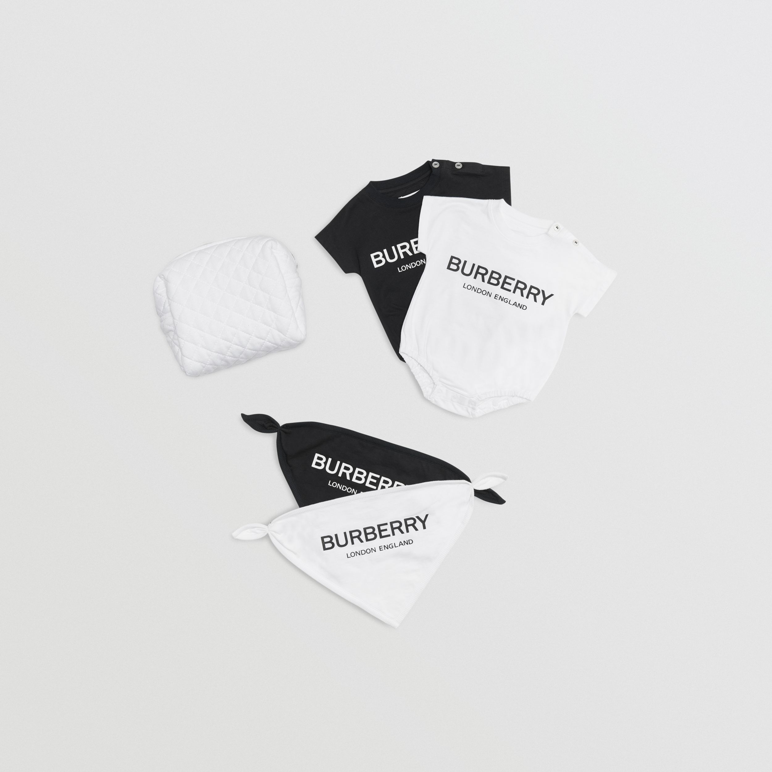 Logo Print Cotton Four-piece Baby Gift Set in Black/white - Children | Burberry United Kingdom - 1