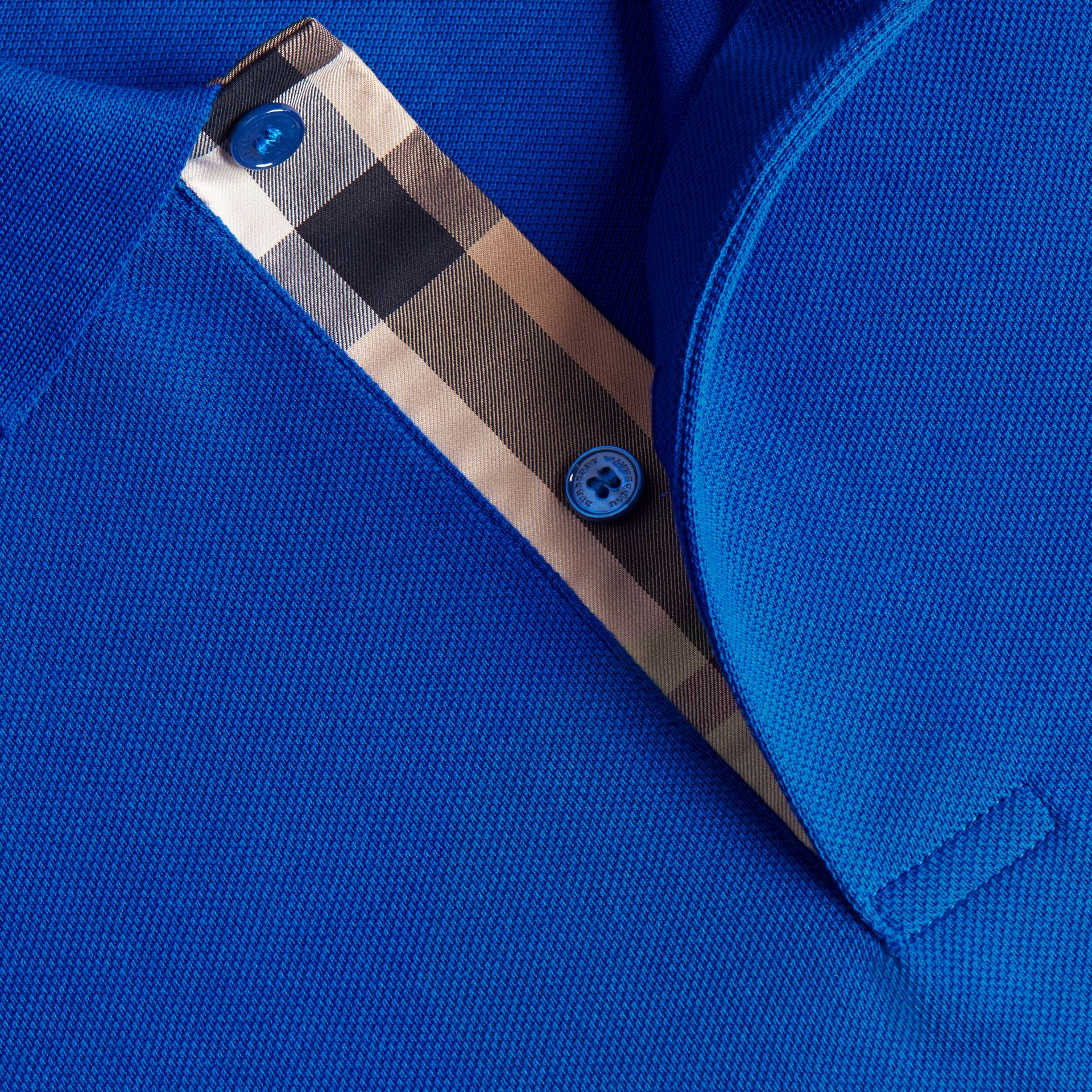 Geometric Motif Cotton Piqué Polo Shirt with Check Placket in Cobalt Blue - gallery image 2