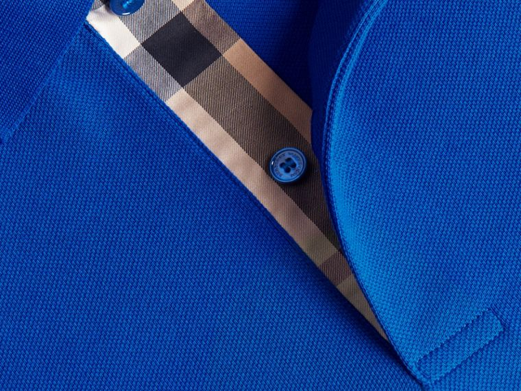 Geometric Motif Cotton Piqué Polo Shirt with Check Placket in Cobalt Blue - cell image 1