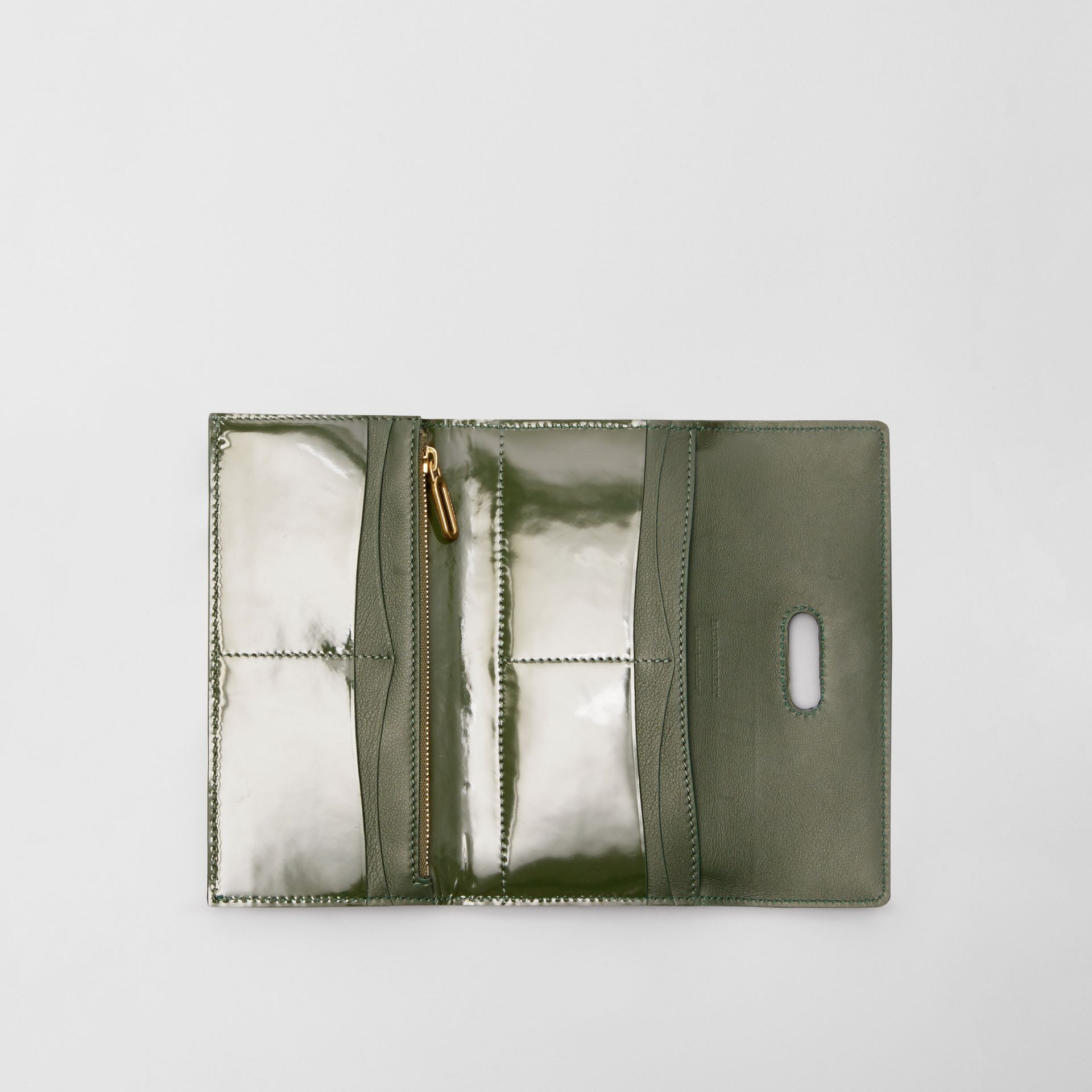 D-ring Patent Leather Continental Wallet in Dark Forest Green - Women | Burberry United States - gallery image 3