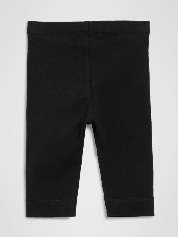 Logo Detail Stretch Cotton Leggings in Black - Children | Burberry - cell image 3