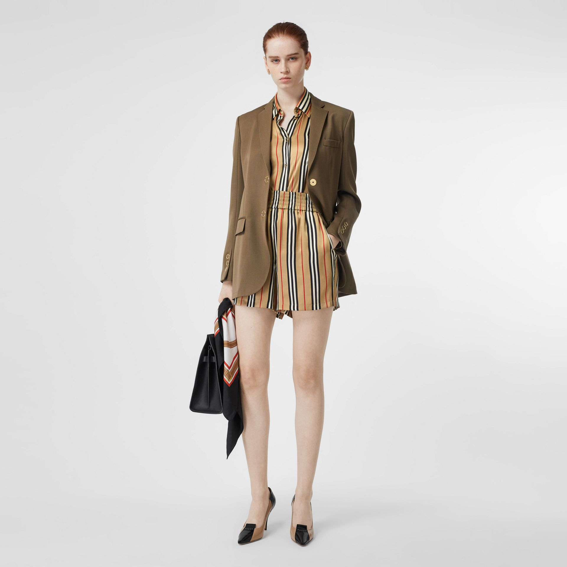 Icon Stripe Silk Shorts in Archive Beige - Women | Burberry Canada - gallery image 0