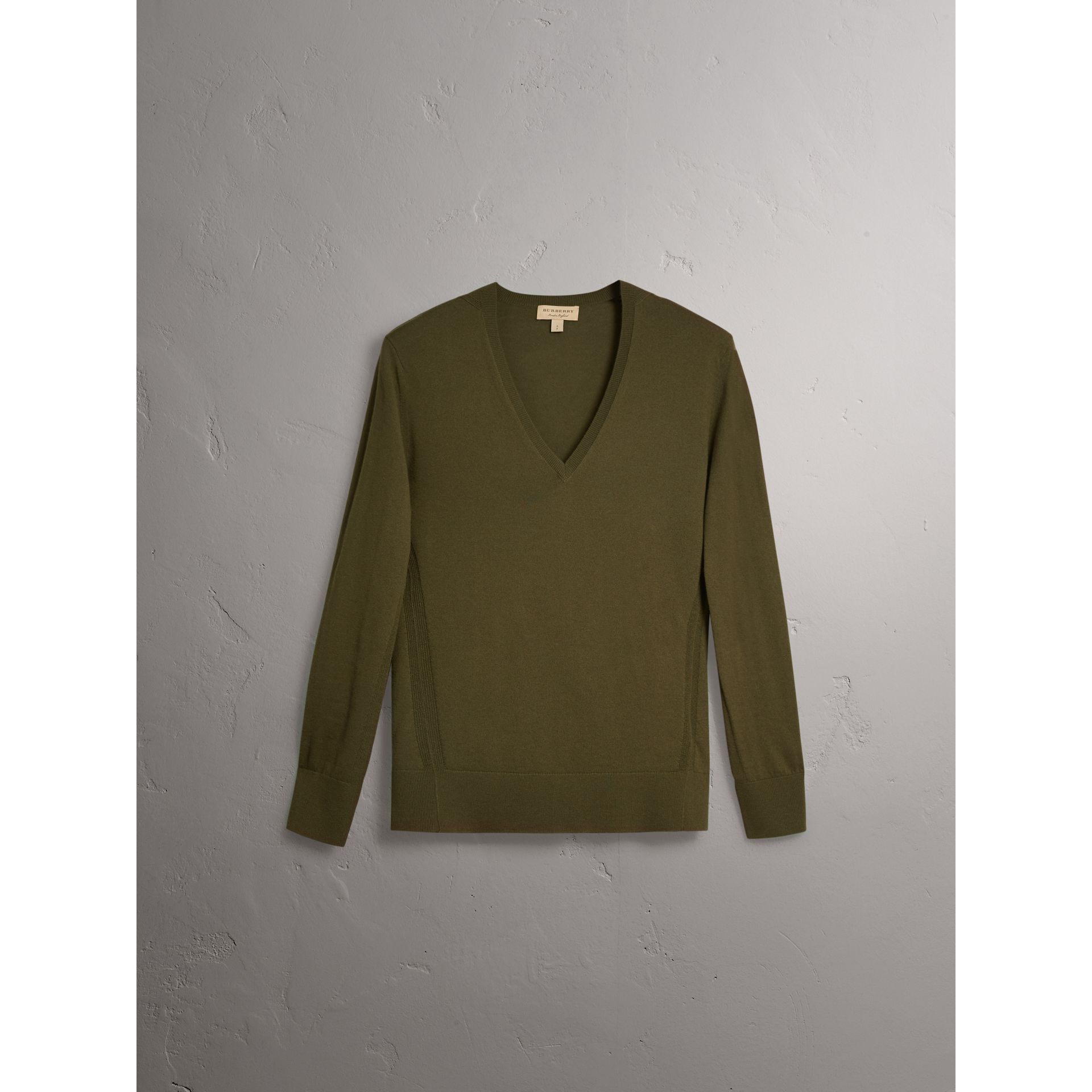 Check Detail Cashmere V-neck Sweater in Khaki Green - Women | Burberry - gallery image 3