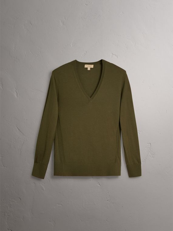 Check Detail Cashmere V-neck Sweater in Khaki Green - Women | Burberry United Kingdom - cell image 3