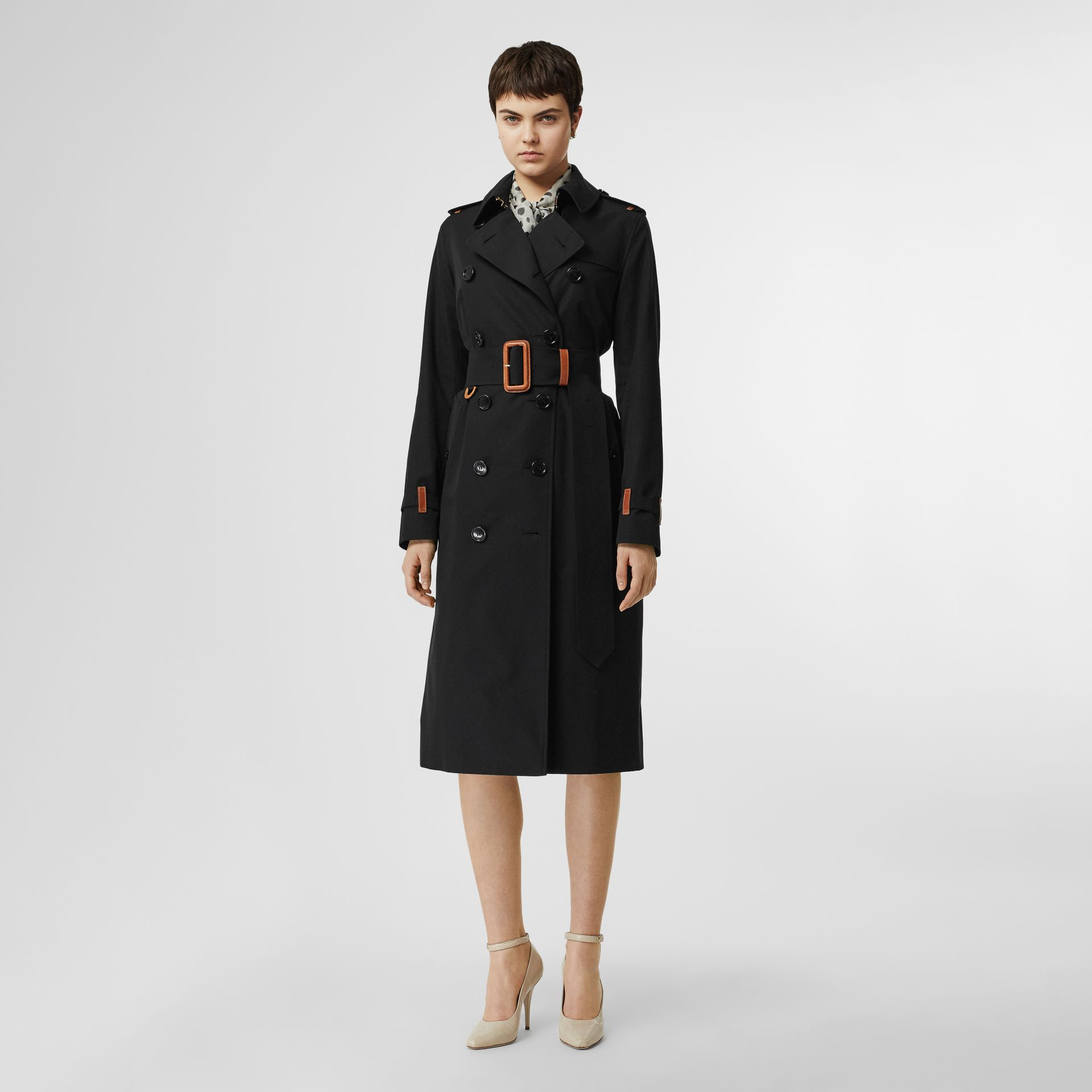 Leather Detail Cotton Gabardine Trench Coat in Black - Women | Burberry - gallery image 0