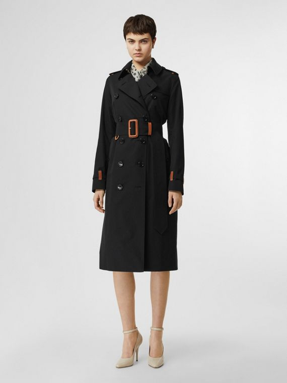 Leather Detail Cotton Gabardine Trench Coat in Black