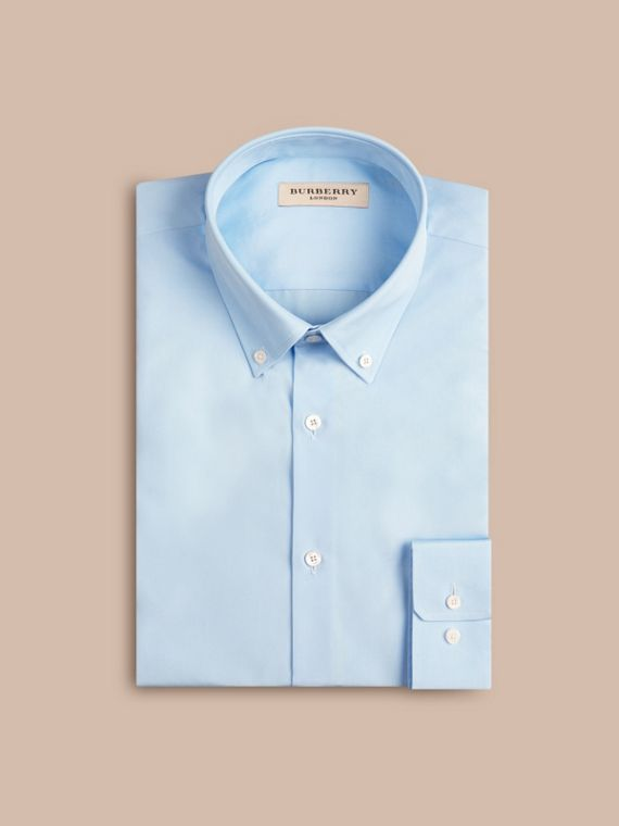 Camicia sfiancata in popeline di cotone con colletto button-down Blu Urbano