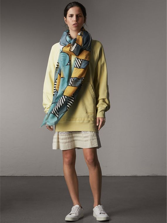 Striped Exaggerated Check Cashmere Silk Scarf in Light Mint - Women | Burberry United Kingdom - cell image 2