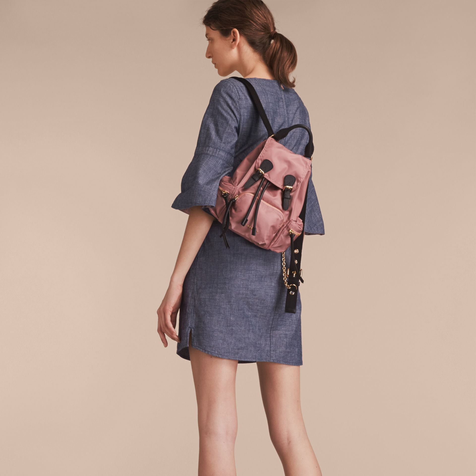 Bell Sleeve Cotton Chambray Dress with Check Detail - gallery image 3