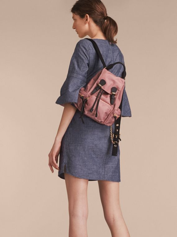 Bell Sleeve Cotton Chambray Dress with Check Detail - cell image 2