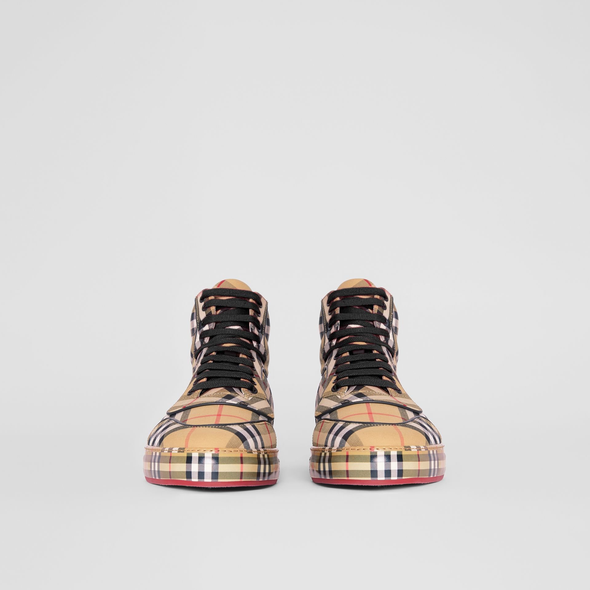 Vintage Check Cotton High-top Sneakers in Antique Yellow - Men | Burberry Hong Kong - gallery image 3