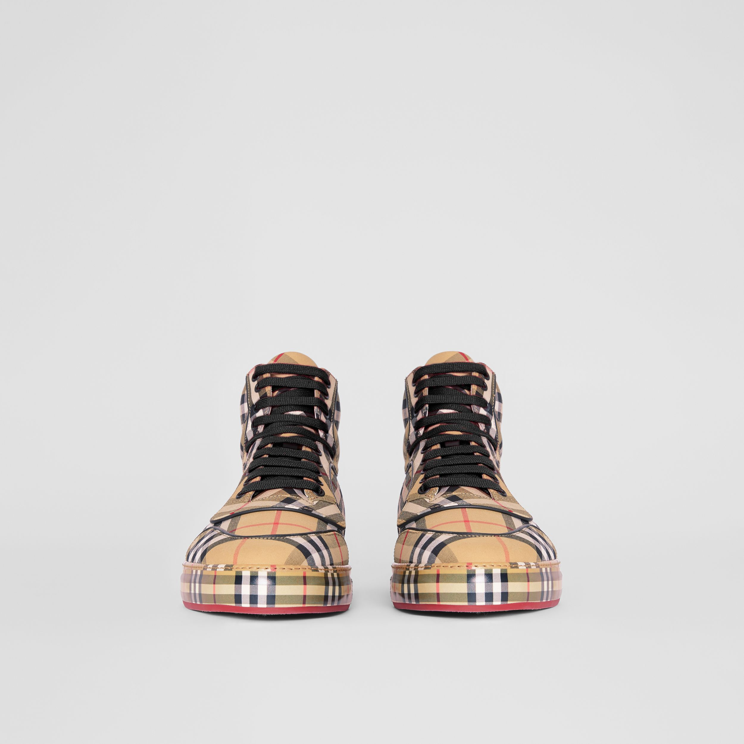 Vintage Check Cotton High-top Sneakers in Antique Yellow - Men | Burberry - 4