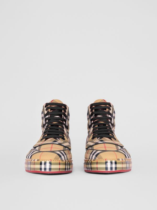 Vintage Check Cotton High-top Sneakers in Antique Yellow - Men | Burberry Singapore - cell image 3