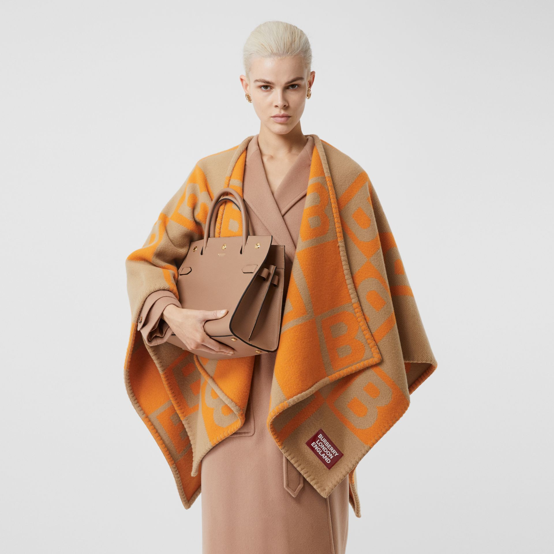 B Motif Merino Wool Cashmere Cape in Orange - Women | Burberry - gallery image 4