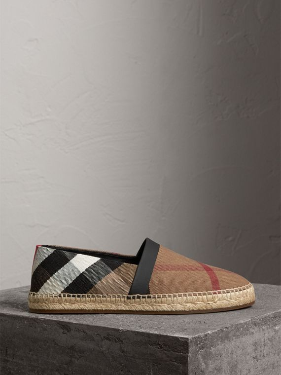Check Cotton Canvas Seam-sealed Espadrilles in Classic - Men | Burberry Hong Kong - cell image 3