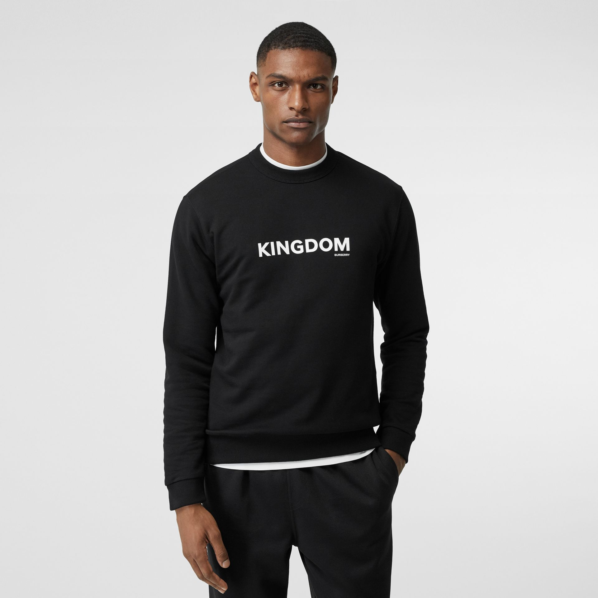 Kingdom Print Cotton Sweatshirt in Black - Men | Burberry - gallery image 4
