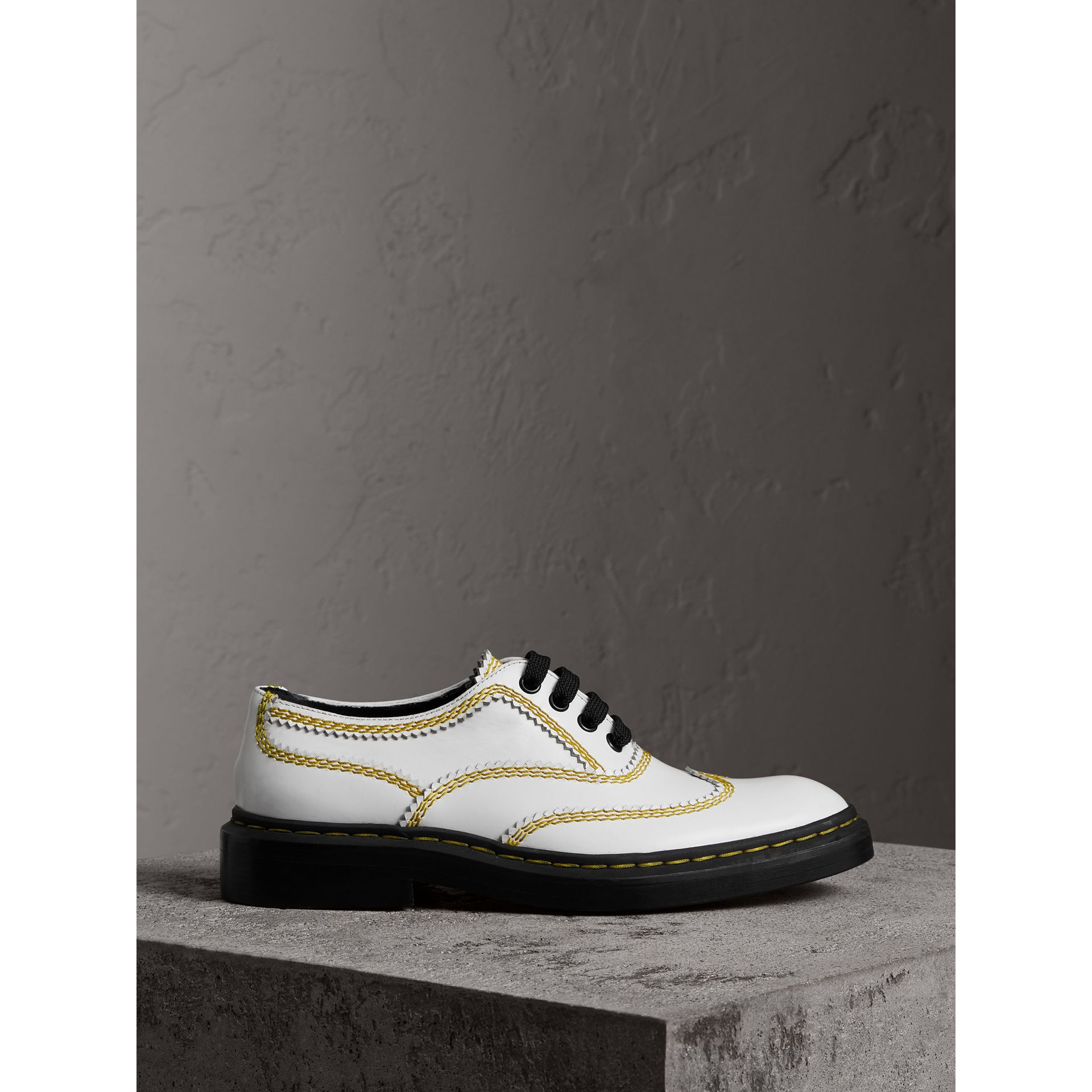 Topstitch Leather Lace-up Shoes in Optic White - Women | Burberry - gallery image 4