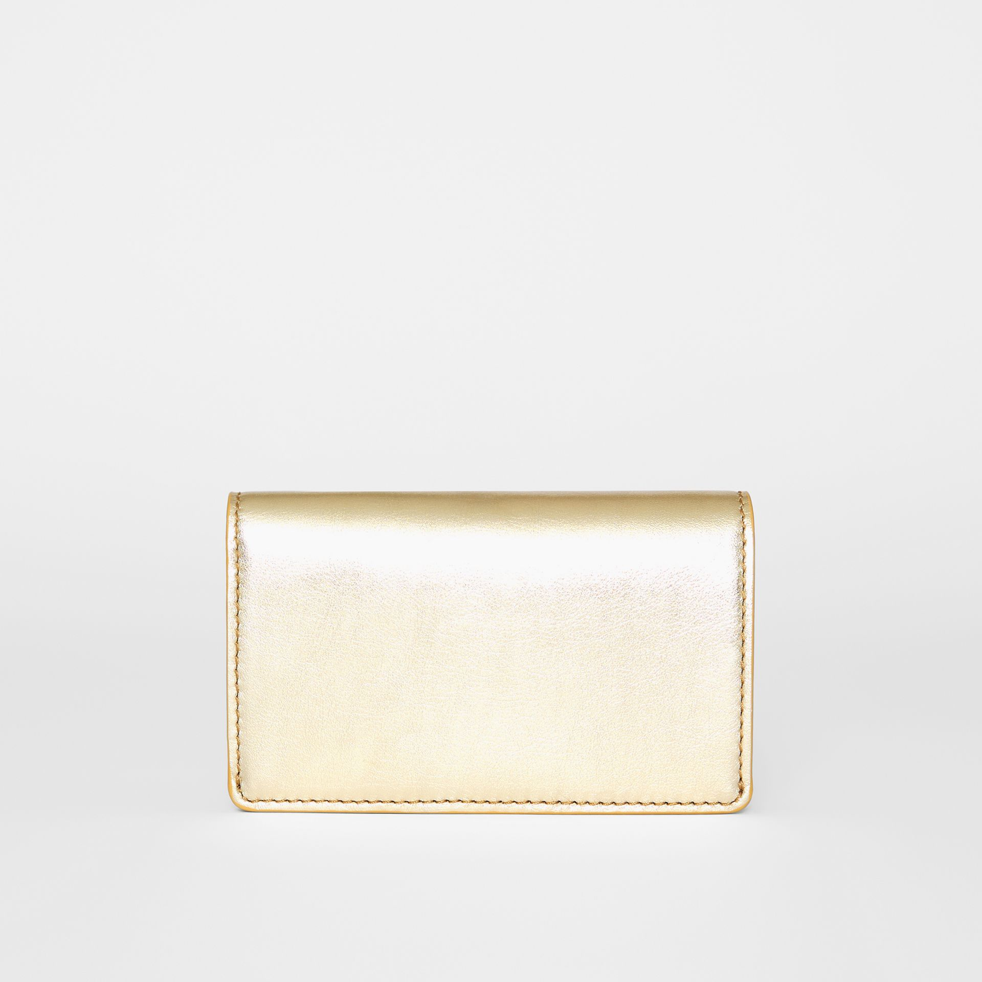 Small Embossed Crest Metallic Leather Wallet in Gold - Women | Burberry United Kingdom - gallery image 5