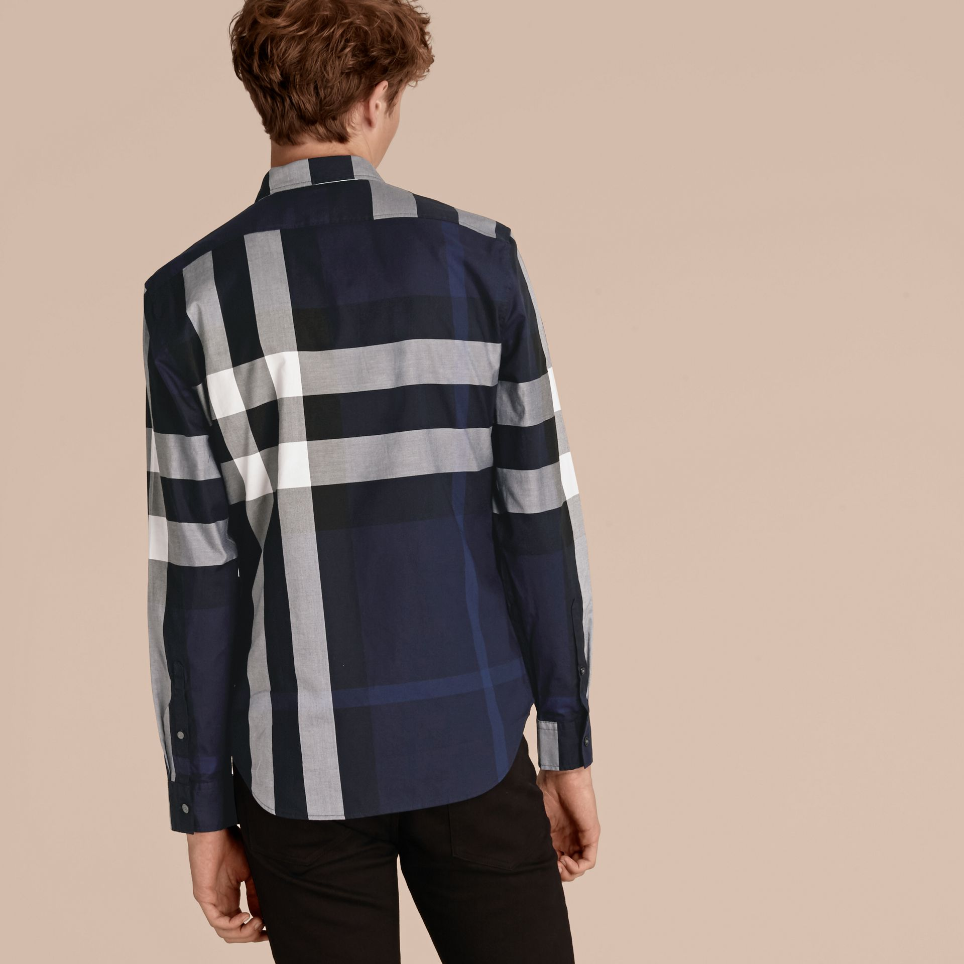 Indigo blue Check Cotton Shirt Indigo Blue - gallery image 3