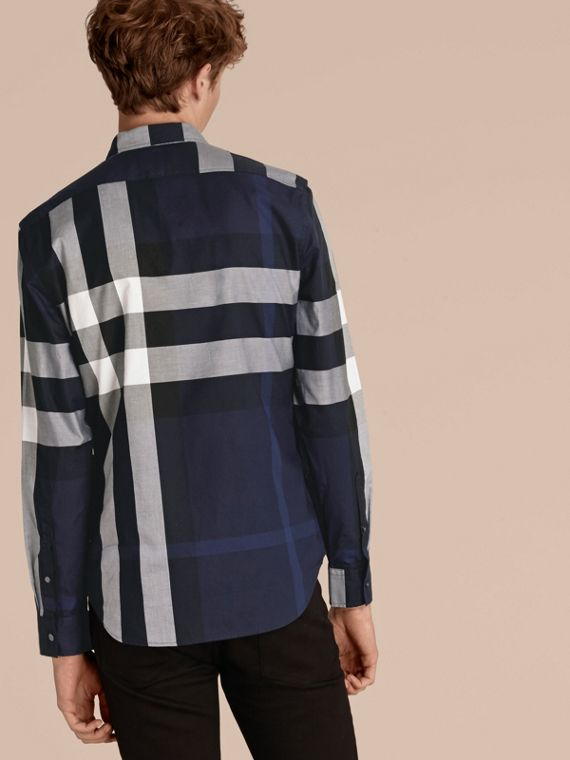 Indigo blue Check Cotton Shirt Indigo Blue - cell image 2