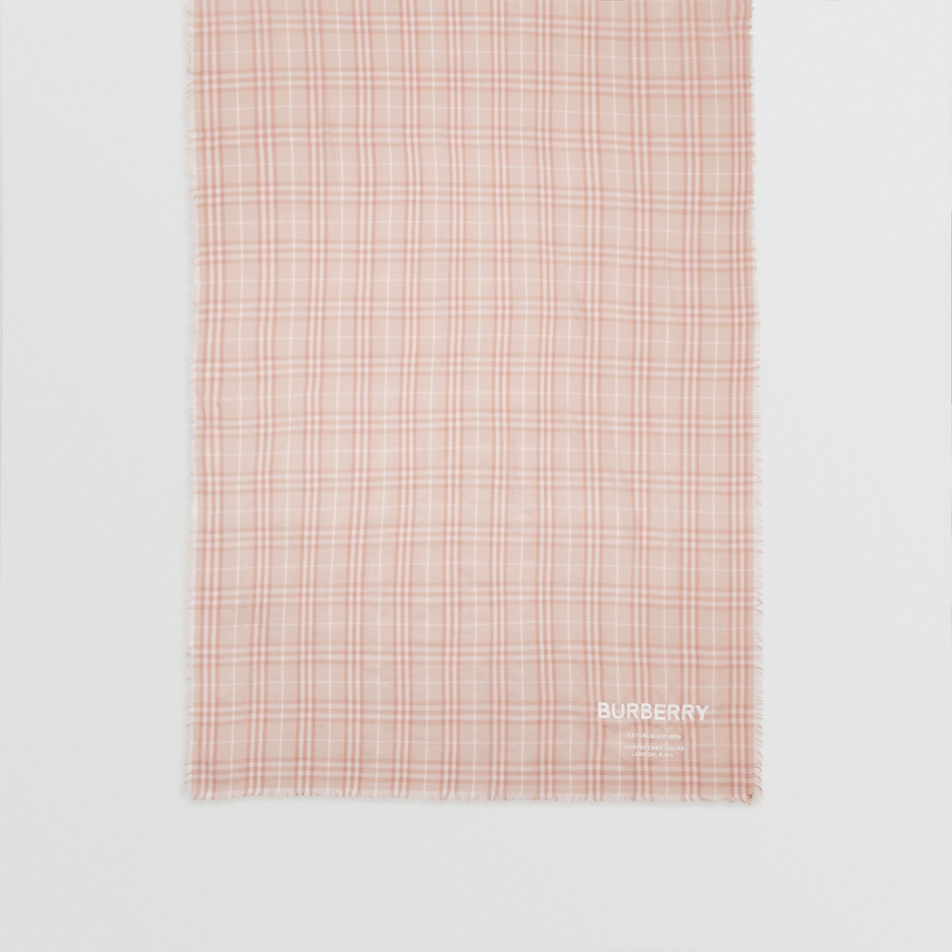 Embroidered Vintage Check Lightweight Cashmere Scarf in Soft Peach | Burberry - gallery image 4